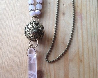 Necklace * cave sacred *, Bola, rose quartz necklace on her stomach, her for the baby