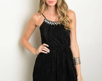 Embellished Spaghetti Strap Pleated Dress  Size S and M