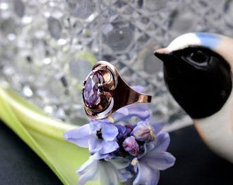 Soviet silver gilded synthetic amethyst ring 875 USSR