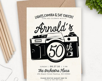 50th Birthday Invitation Printable / Camera Birthday Party Invitation / Photography Birthday Invitation / Birthday Party Invites