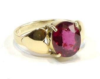 Natural rhodolite garnet yellow 14k gold heart ring,size 7