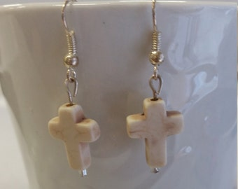 Cross dangle earrings-white