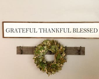 Grateful Thankful Blessed Sign | Grateful Sign | Farmhouse Decor | Rustic Wood Sign