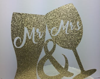 Mr & Mrs Beer and Wine Cake Topper ~ wedding shower ~ glitter ~ party ~  wedding ~ bride ~ groom ~ wine ~ beer ~ topper ~ gold glitter
