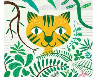 Tiger Print, Big Cat, Nursery Art, Jungle Animal, Childrens Wall Art, kids room art