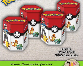 PRINTABLE - Pokémon  Characters - Ash - Pikachu - Charmander - Bulbasaur - Party favor box - JPEG - 300dpi
