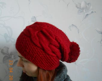 Women's winter hat with pompom Knitted hat  Women's hat Red knitted hat Winter women's cap Warm winter hat Winter hat Red hat Gift for her