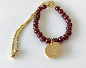 Garnet Bracelet -Love Bracelet -Personalised Bracelet -Gold Bracelet -Adjustable Bracelet -Birthstone Bracelet -Handmade Bracelet -UK shop