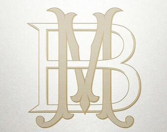 Custom Vintage Initials - BM MB - Vintage Initials - Digital