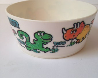 Vintage 1970s Deka Plastic Bright and Colorful Dinoland Bowl