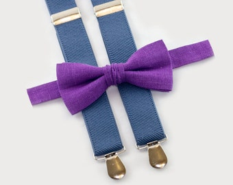 Suspender And Bowtie Set, Plum Bow Tie & Denim Suspenders, Children Bowties