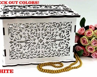 WEDDING MONEY BOX, Wedding Card Box, Money Envelopes Box, Wedding Card Holder, Wedding Gift Card Box, Wooden Money Box, Wedding Keepsake Box
