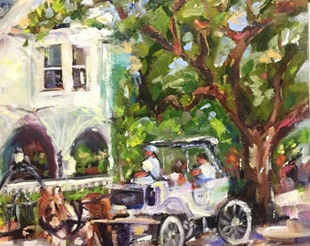 """original oil painting Charleston carriage tour // Battery//South Carolina//home decor//wall art//impressionist style/8x10"""""""