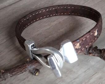 Cork leather bracelet natural Vegan heart pattern