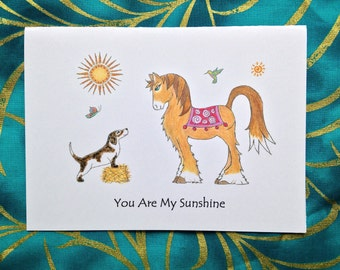 Dog and Horse Card - Whimsical Dog and Horse Greeting Card - Any Occasion - Blank Greeting Card
