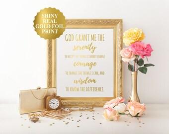 Serenity prayer print, Serenity prayer gold foil wall art, gold foil Serenity prayer, bedroom decor, God grant me serenity courage wisdom