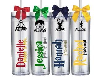 Custom Harry Potter Fan Wedding Bridesmaid Groomsmen Bachelorette Gift Tumblers House Cup Single