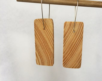 Cypress earrings made from treehouse scrap wood