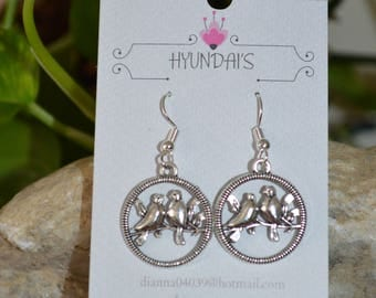 Jewelry by Hyundai's hollow circle love birds earrings