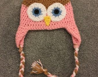 Crochet Owl hat for baby boy or baby girl