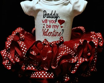 Daddy will you be my Valentine embroidered bodysuit and ribbon tutu