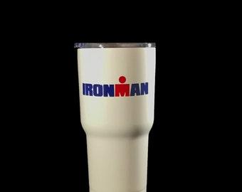 Ironman Triathlon inspired personalized 30 oz Custom Powder Coated Stainless Steel Tumbler - Duplicate of Yeti Rambler (Logo is SEALED)