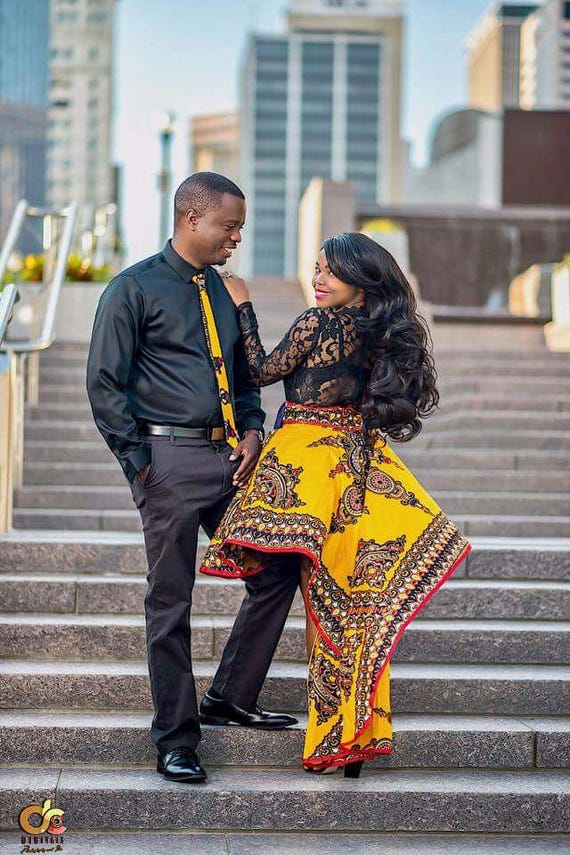 luxury dashiki engagement couple outfit high low african skirt