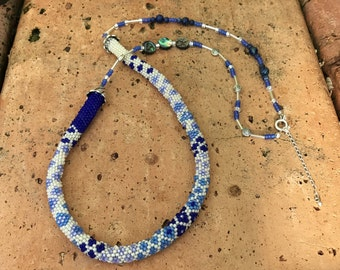Peyote Stitch Necklace With the Blues