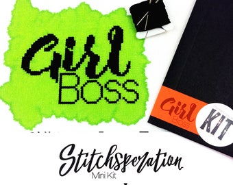 Girl Boss // Modern cross stitch mini kit with hand painted fabric // Mini kit, Quick project, Entrepreneur, Home Office, DIY Gift, DIY Kit