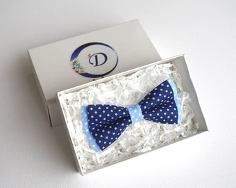 Blue Bow tie, Polka Dot Bow tie, Blue Cotton Bow Tie, Kids Bow Tie, Boys Bow Tie, Bow Tie for Toddler, boys bowties