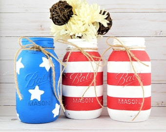 American Flag Mason Jars. 4th of July Party. Patriotic Decor. Americana Decoration. Stars and Stripes. Rustic Farmhouse. Custom Colors.
