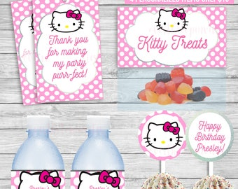 Hello Kitty party package, kitty party,  cupcake toppers, water wraps, treat bag toppers and cupcake toppers one amazing price!