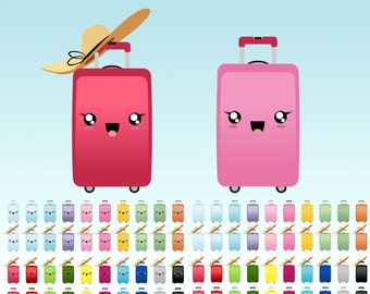 Suitcase Clipart, Kawaii clip art travel bag digital graphics, perfects for  planner clipart stickers, paperclips, Commercial Use