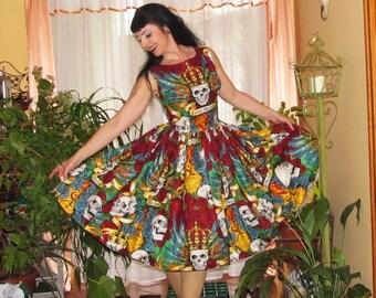 Pinup dress 'Melanie dress Carpe Noctem' Bright Skull dress, gathered skirt, rockabilly dress