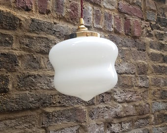 Unusual shaped vintage opaline schoolhouse light with brass gallery and new bulb holder: rewired