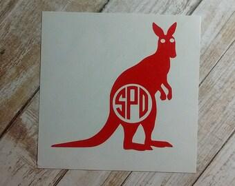 Kangaroo Decal/Boomer Monogram /Flyers Initials Monogram/Decal/Vinyl Decal/Initial Monogram/Australia Kangaroo Decal Monogram/HTV Decal