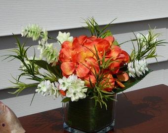 Small silk hydrangea arrangement, Orange hydrangea, orange and white flowers