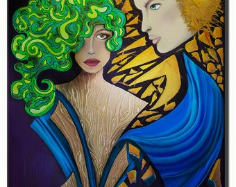 Title: The Rise & Fall (Sube y Baja) Alyssa-Maria-original-Art-Canvas sized-20x30