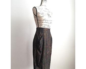 Vintage Paisley Midi Skirt, Midi Skirt with Drape Pockets, Vintage Midi Skirt with Pockets, Paisley Print Skirt, Vintage Midi Skirt