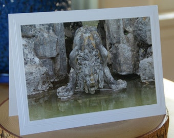 Photo Greeting Card | Photography Card | Handmade Card | Blank Card | Photo Note Card | Blank Photo Card | Statue | Blenheim Palace | Lion