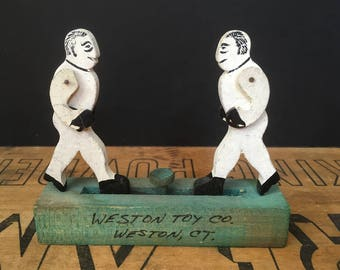 Antique wood boxer toy from Weston Toy Company, handmade, push button toy, folk art, Americana, circa 1900