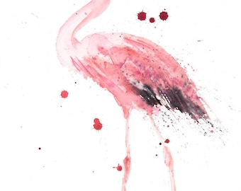 Mingo the Flamingo - Signed limited Edition Print of my original watercolour painting