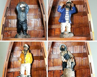 "Rustic SEA CAPTAIN FIGURINES Nautical Decor Beach Coastal Decor Figures of Old Man Sailors & Fisherman 6"" Set of 4 Man Cave"