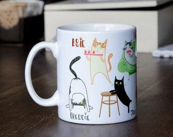 Crazy nine cat mug