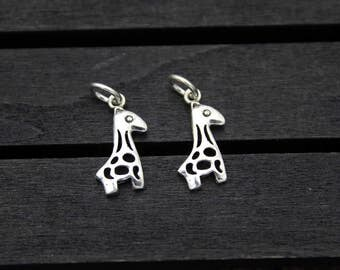 Sterling Silver Giraffe Charm, Zoo Charm, Animal Charm