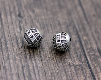 1PC-10mm Sterling Silver Beads,Sterling Silver Spacer Beads,Mala Beads