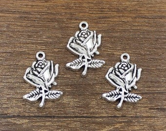 20pcs Rose Charm Antique Silver Tone 17x25mm - SH342