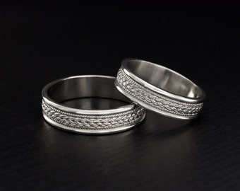 Braided silver wedding bands, Wicker wedding rings, His and hers couple rings, Unique matching wedding bands, Set of wedding rings