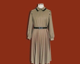 Vintage Olive Green Uniform Dress • Long Sleeve Pleated Dress • Retro Secretary • Elegant Contrast Trim • Autumn Winter • Made in England