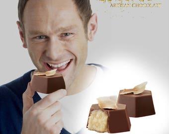 Pina Colada Chocolate Truffles, gourmet Chocolate gift, kosher chocolate gift, gourmet gift, Pina Colada Minis
